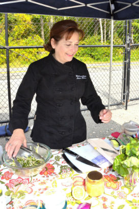 Maria Reina demoing at the Purchase Farmers Market