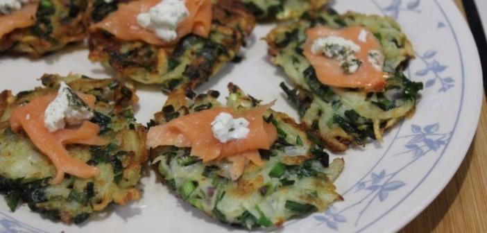 green garlic latkes