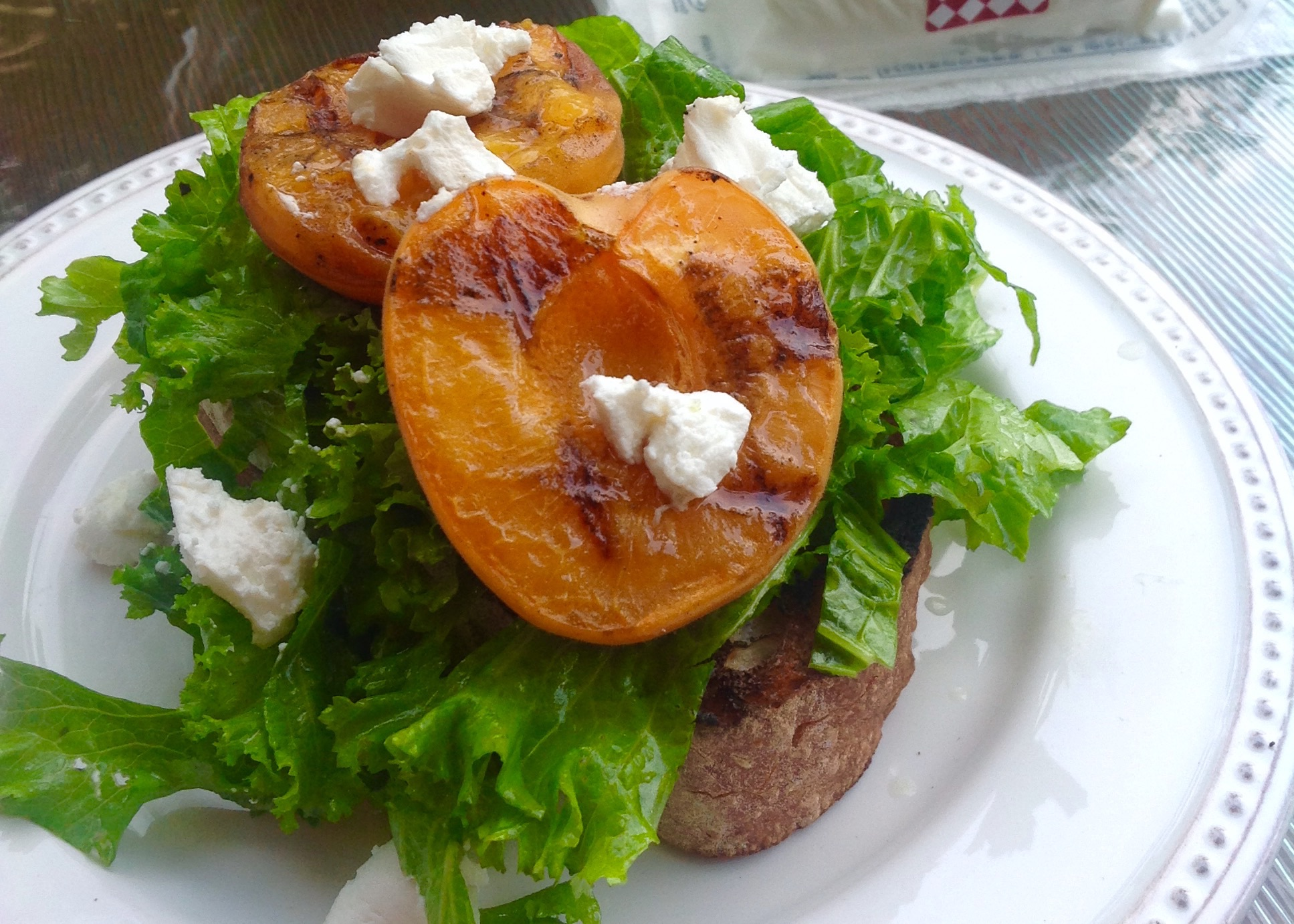 Grilled Apricots and Mustard Green Salad