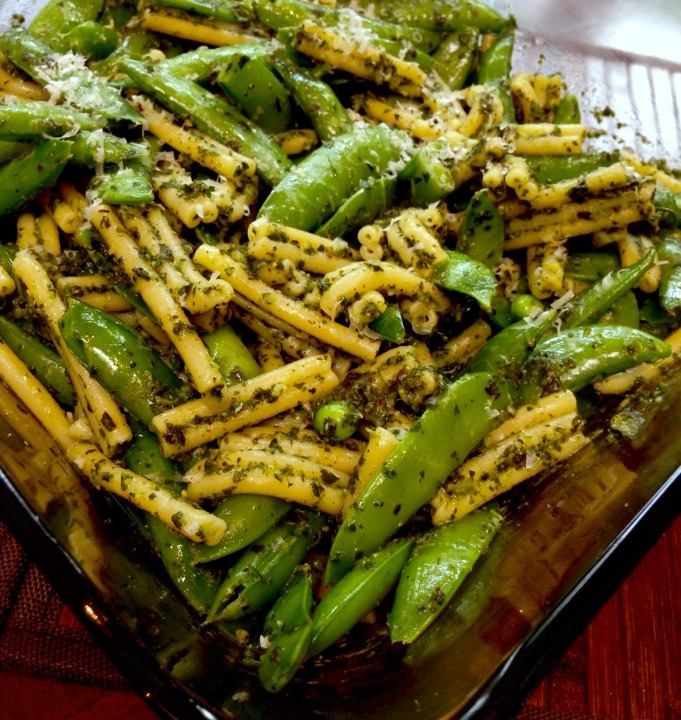 Sugar Snap Peas, Pesto and Pasta