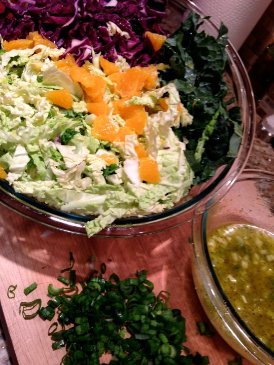Assembling Seasonal Chef Maria Reina Summer Slaw