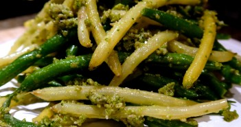 Pole Beans with Sunflower Seed Pesto