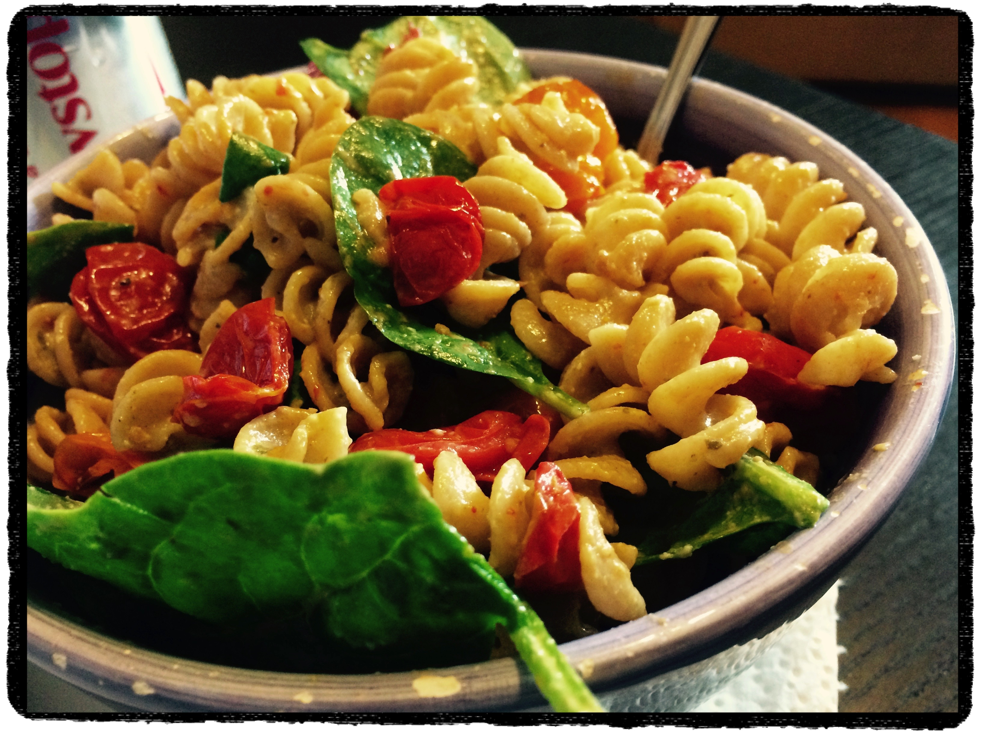 Tossed with spinach, pasta and Basilicotta.