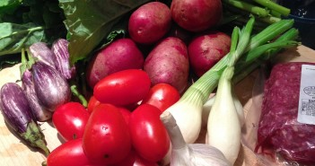 Farmers market ingredients for a quick and easy dinner by Seasonal Chef Maria Reina