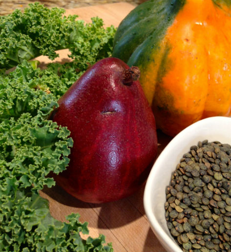 Kale, Pear, Acorn Squash and French Lentils