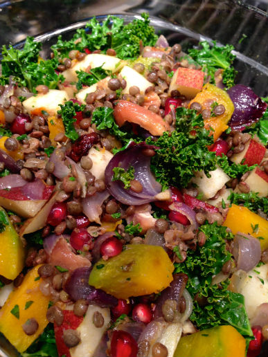 Seasonal Chef Maria Reina, Winter Squash, Lentil and Kale Salad