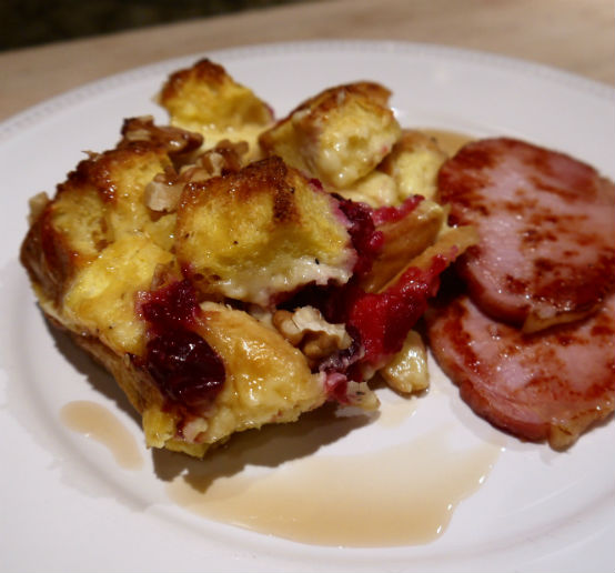 Cranberry Cheddar Strata with Walnuts and Canadian Bacon, by Seasonal Chef Maria Reina