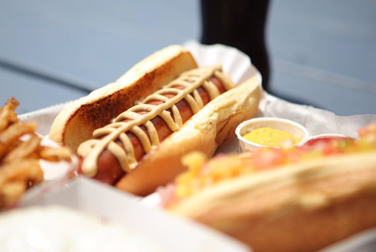 A classic hotdog with mustard served with fries at the Filling Station in Palisades on July 23, 2013. ( John Meore/The Journal News )