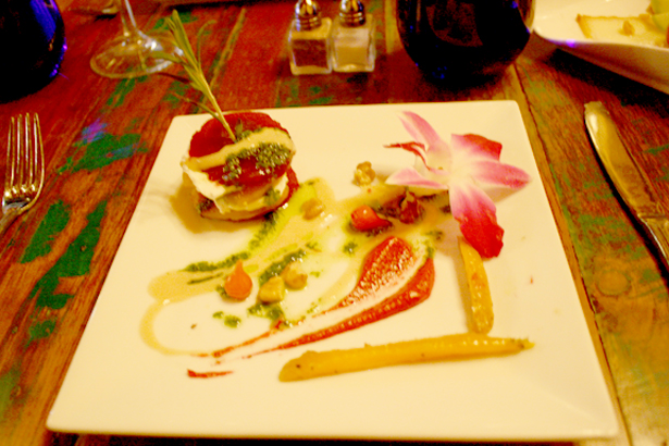 Napoleon of organic beets and goat cheese herb sauce