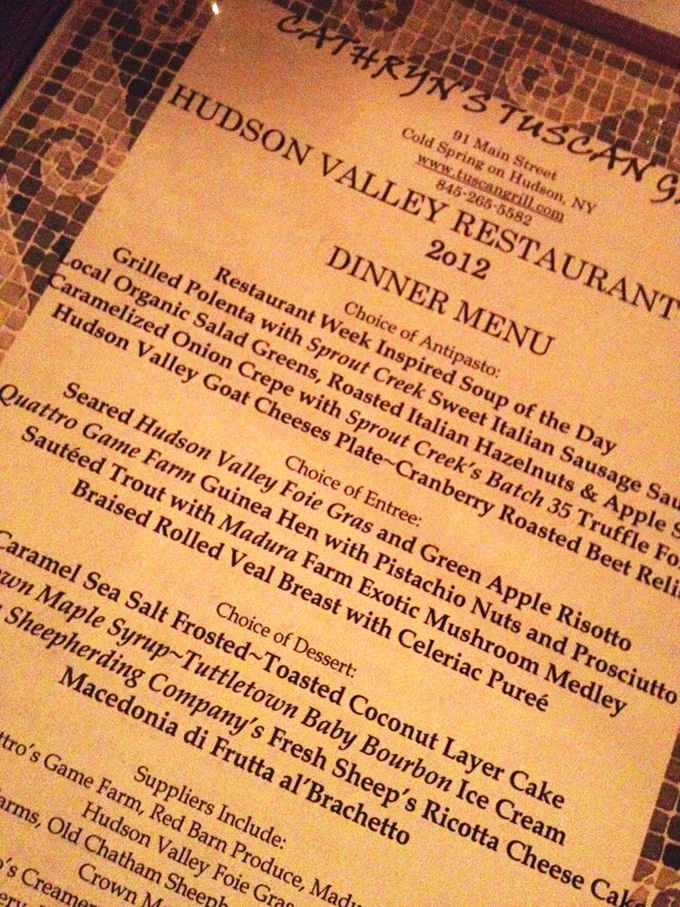 Cathryns Tuscan Grill HVRW Menu