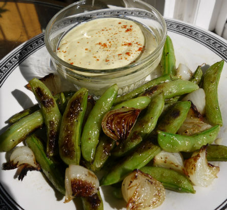 Charred Snap Peas and Onions with Aioli, Maria Reina
