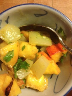 Chayote and peach salsa