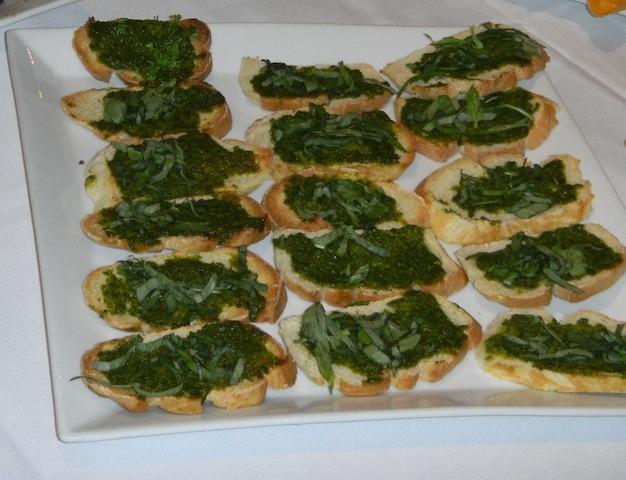 Crisp Toasts with Chimichurri (Argentine Pesto), Yuca Frita con Salsa de Huancaína, Anticuchos