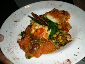 Cod with Caponata Sauce