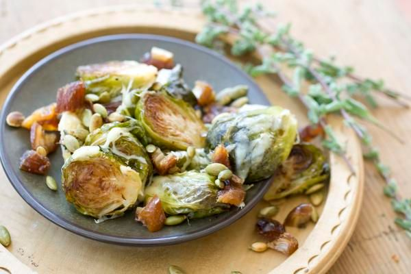 Gruyere Roasted Brussels Sprouts with Pepitas and Dates: Thanskgiving Recipes