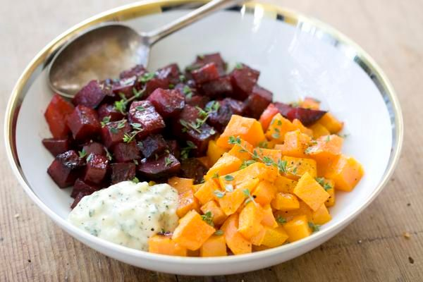 Roasted Squash and Beets with Creamed Garlic