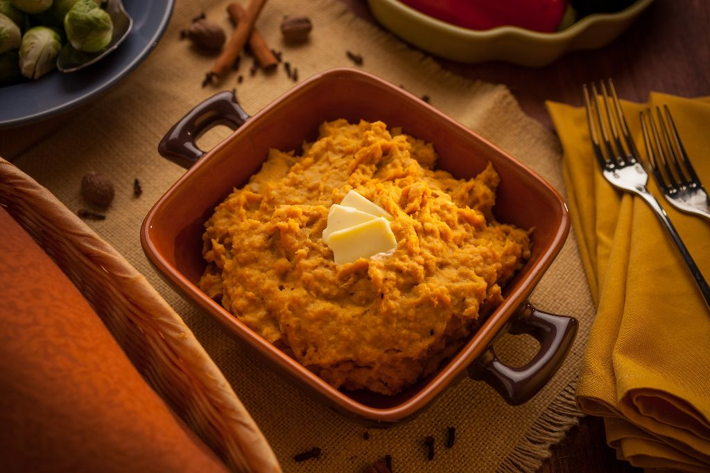 CIA's Gingerbread Spiced Sweet Potato Plantain Mash
