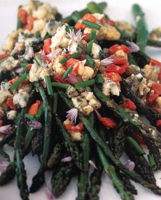 Latin Twist: Grilled Asparagus topped with Gorgonzola Salsa