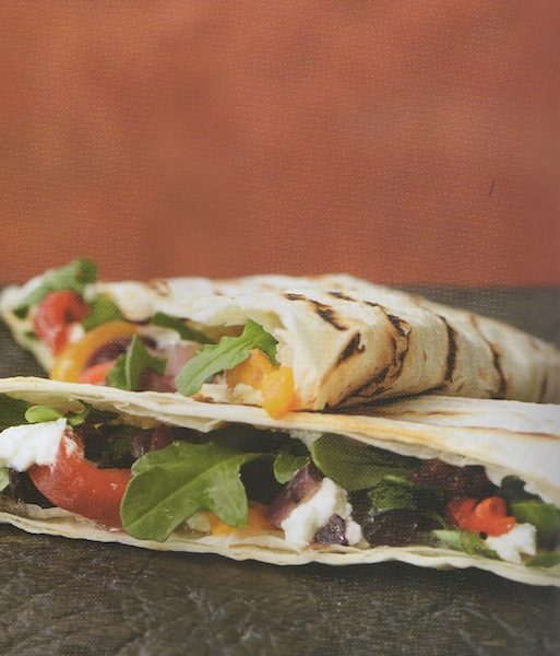 Grilled Flour Tortillas with Tomatoes, Baby Arugula and more