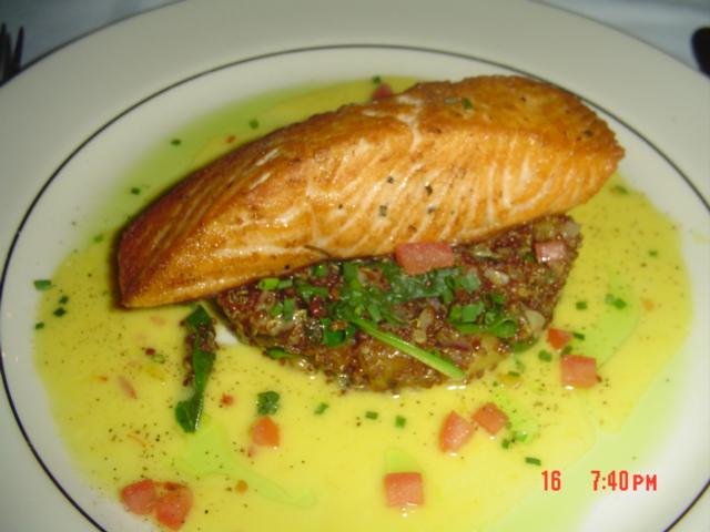 Grilled Salmon Quinoa Taboleh Salad in a Saffron Garlic Reduction