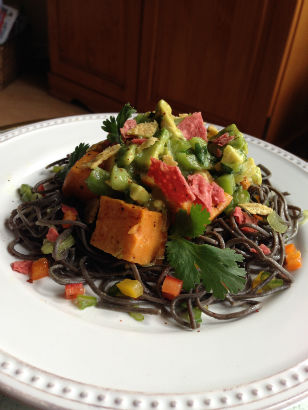 Roasted Sweet Potato with Black Bean Pasta, Maria Reina, Seasonal Chef