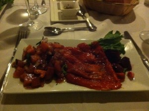 Roasted Peppers and Bruschetta