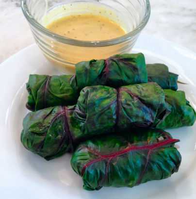 Swiss Chard rolls with Quinoa filling