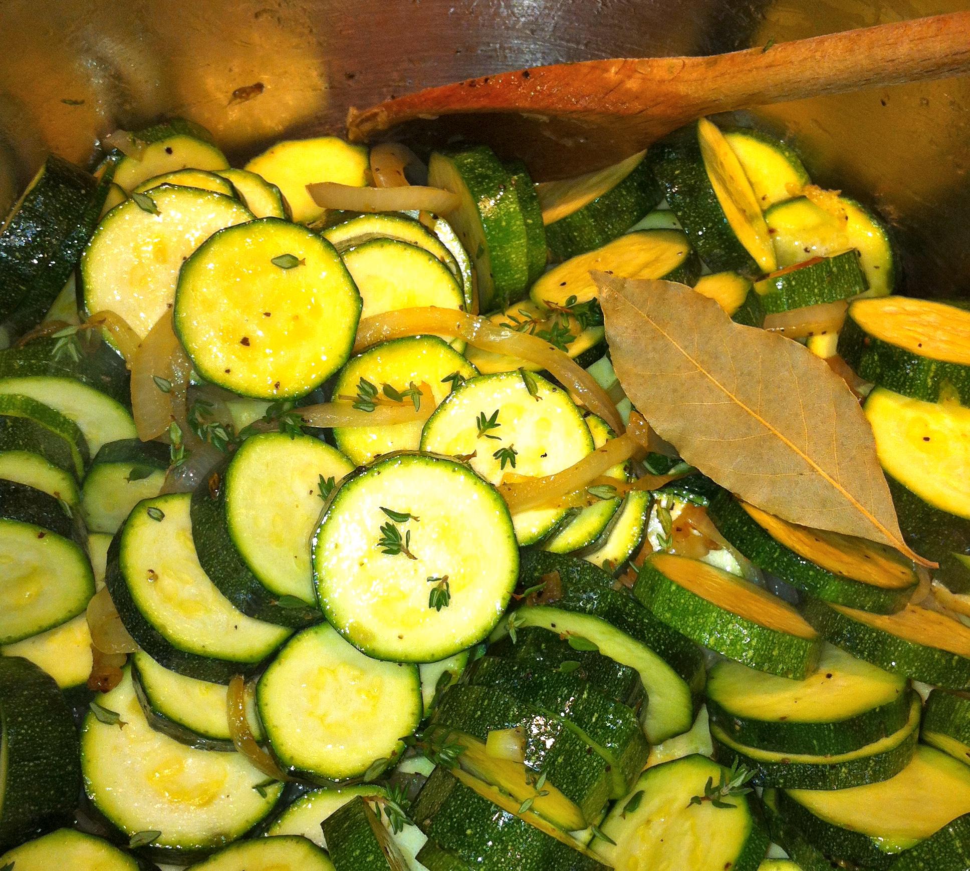 sauteeing the zucchini