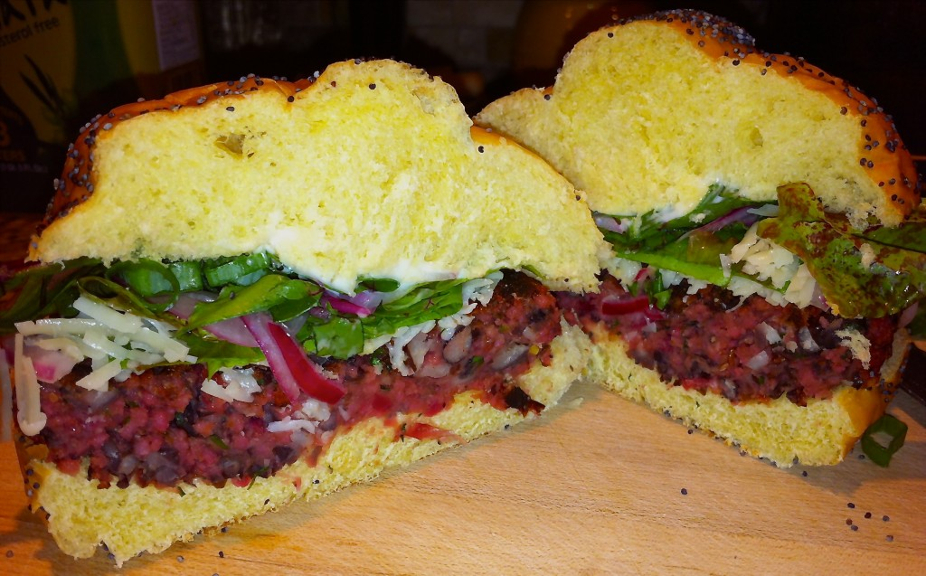 Chef Maria's Chipotle Black Bean and Beet Burger