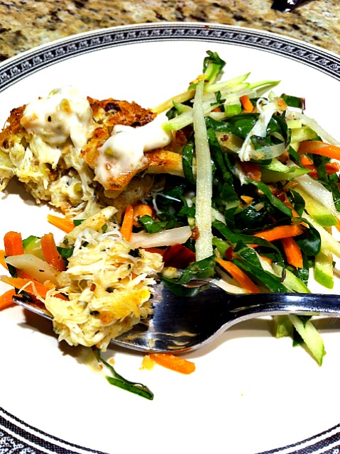Asian-inspired Crab Cake with Kohlrabi-Apple Slaw