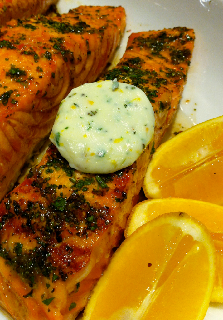 Dijon-Maple glazed Seared Salmon with Meyer Lemon-Herb Compound Butter