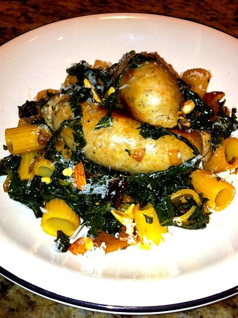 Turkey Sausage with Kale, Dried Fruits and Nuts