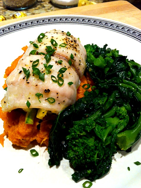 Vegetable Stuffed Flounder with Sweet Potato and Broccoli Raab