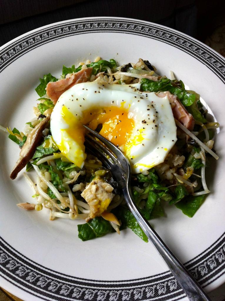 Salmon, Brown Rice and Egg Chopped Salad