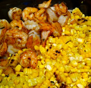Toss together the grilled corn and grilled shrimp.
