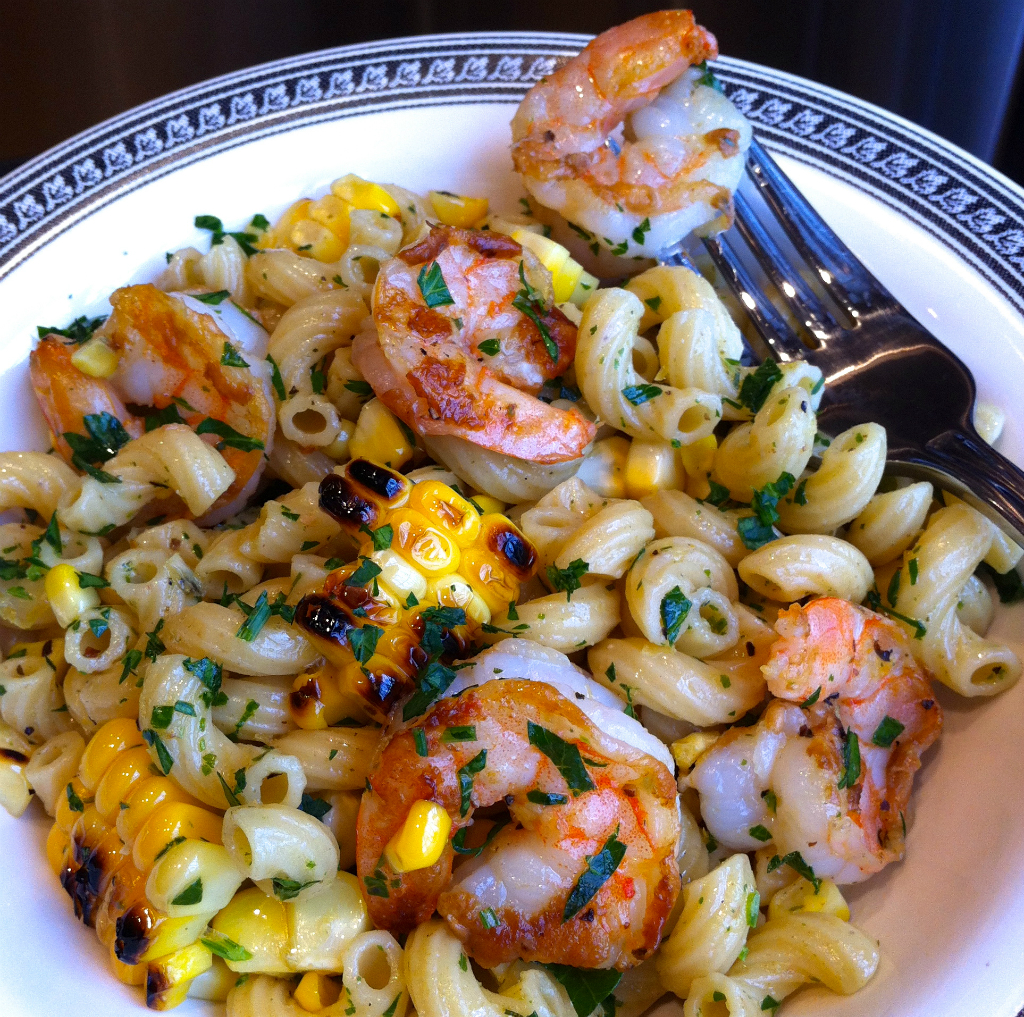 Grilled Shrimp and Corn with Herbed Pasta