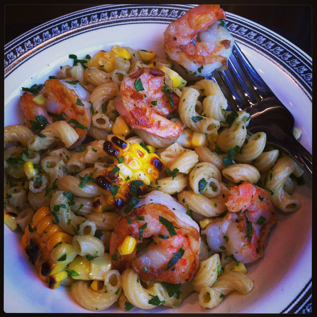 Maria Reina's Grilled Shrimp and Grilled Corn Pasta Salad.