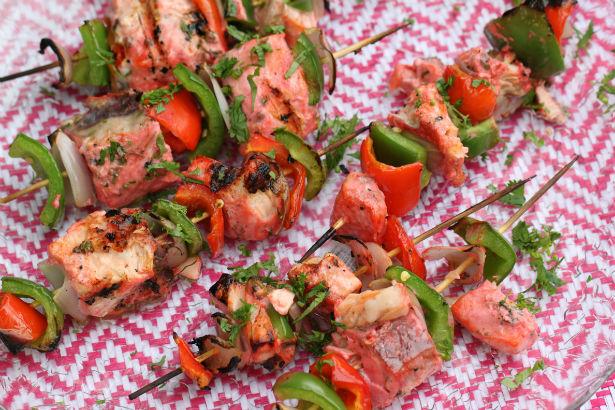 Tandoori Fish and Bell Pepper Skewers