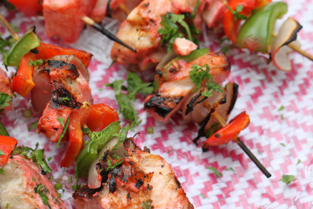 Tandoori Salmon and Bell Pepper Kebabs