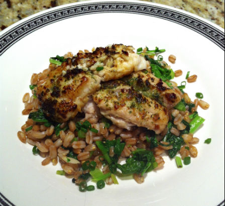 Sauteed Spring Raab and Farro with Black Cod, Maria Reina