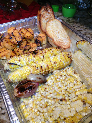 Grilling corn and sweet potato