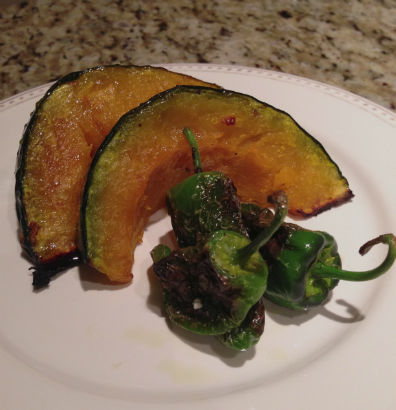 Roasted Kabocha Squash and Pan-seared Padron Peppers, Seasonal Chef, Maria Reina