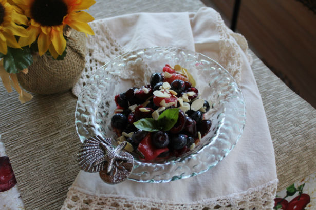 Red White and Blue Fruit Chaat