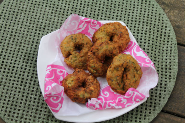 Black-Eyed Pea Vadas with Green Beans