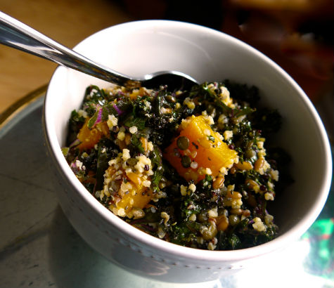 Mixed Grain Bowl with Kale and Squash