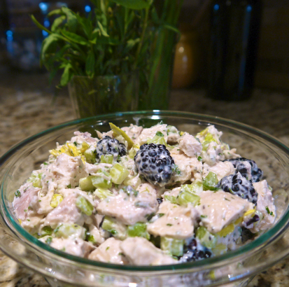 Chicken Salad with Tarragon, Chive and Blackberry by Maria Reina