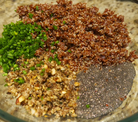 Burger ingredients: quinoa, shiitake, nuts, chia and chive.