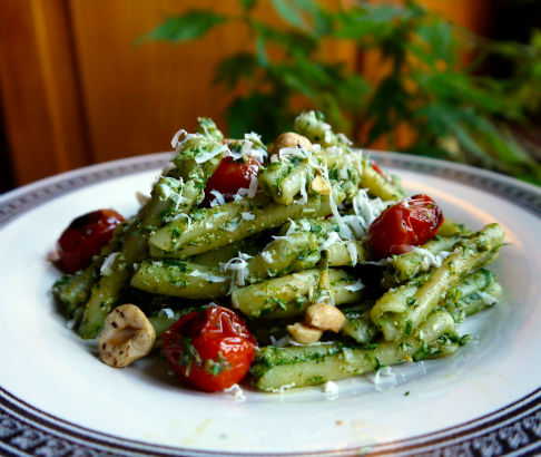 Ramp Pesto Pasta with Charred Tomatoes