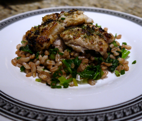 Seared Black Cod with Farro and Sautéed Spring Raab, Maria Reina