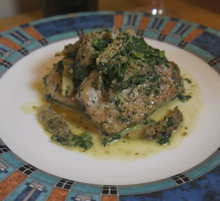 Sautéed Morels and Spinach with Pan Seared Pork Chops, Maria Reina